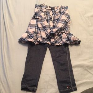 Tommy Hilfiger 4T outfit blouse and jeggins